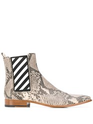 Off White Snakeskin Effect Ankle Boots Brown