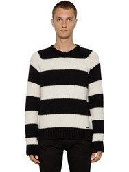 Dsquared Striped Wool Blend Knit Sweater Black White