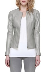 Soia And Kyo Women's Slim Fit Zip Front Leather Jacket Stone