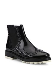 Tod's Lug Sole Patent Leather Chelsea Booties Black