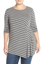 Plus Size Women's Vince Camuto 'Nordic Stripe' Side Pleat Asymmetrical Top
