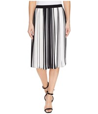 Vince Camuto Linear Accordion Stripe Pleated Skirt Rich Black Women's Skirt