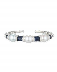 Belpearl South Sea Pearl Bracelet With Blue Sapphires And Diamonds In 18K White Gold
