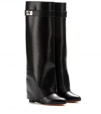 Givenchy Leather Wedge Boots Black