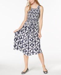 Maison Jules Smocked Midi Dress Created For Macy's Blue Notte Floral