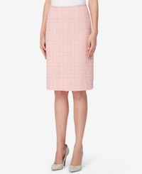 Tahari By Arthur S. Levine Asl Boucle Tweed Pencil Skirt Palm Pink
