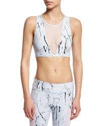 Varley Terri Printed Sports Bra W Mesh Panel Iceberg White Women's Size Large 10