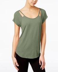 Almost Famous Juniors' Strappy Cutout T Shirt Olive