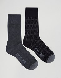 Levi's Socks In 2 Pack Dot Stripe Black Black