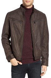 Michael Kors Men's Washed Leather Jacket Dark Brown