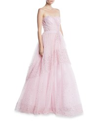 Pamella Roland Strapless Sequin Embroidered Tulle Ball Gown Light Pink