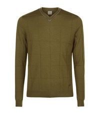 Armani Collezioni Geometric Weave V Neck Jumper Male Green