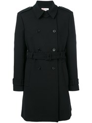 Red Valentino Short Trench Coat Women Cotton Polyester Spandex Elastane Wool 42 Black