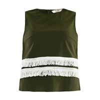 Paisie Sleeveless Top With Fringe Trims In Green And White