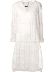 Baja East Striped Hooded Dress White