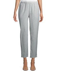 Eileen Fisher Striped Hemp Blend Relaxed Leg Ankle Pants Plus Size Chambray Hue