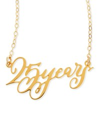 25 Years Anniversary Calligraphy Necklace Brevity Gold