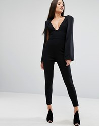 Lavish Alice Plunge Neck Jumpsuit With Cape Detail Black