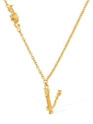 Versace Necklace W V Charms And Crystals Gold