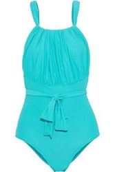 Lenny Niemeyer Woman Greek Tie Front Gathered Swimsuit Turquoise