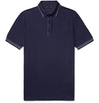 Loro Piana Contrast Tipped Knitted Silk And Linen Blend Polo Shirt Navy