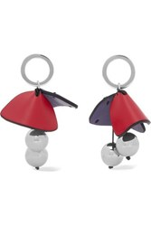 Marni Silver Tone And Leather Earrings Red