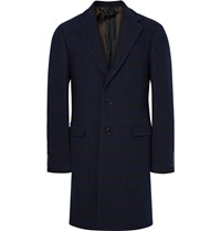 Raf Simons Striped Wool Blend Boucle Overcoat Navy