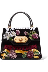 Dolce And Gabbana Welcome Medium Ayers Trimmed Printed Velvet Tote Black