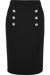Michael Kors Collection Button Detailed Wool Twill Pencil Skirt Black