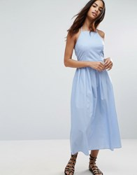 Asos Maxi Dress With Tie Back In Cotton Pinstripe Blue