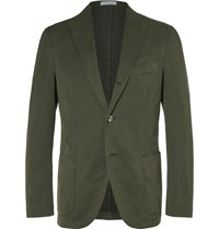 Boglioli Green Slim Fit Stretch Cotton Blend Suit Jacket Army Green