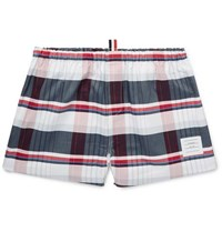 Thom Browne Checked Cotton Oxford Boxer Shorts Red