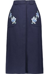 Vilshenko Embroidered Cotton Twill Midi Skirt Storm Blue