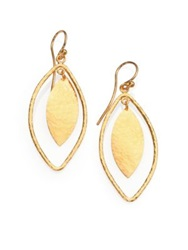Gurhan Willow 24K Yellow Gold Leaf Drop Earrings