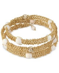 Inc International Concepts M. Haskell For Inc Gold Tone Woven White Beaded And Crystal Coil Wrap Bracelet Only At Macy's
