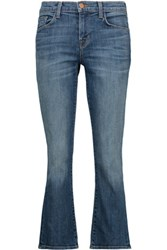 J Brand Selena Mid Rise Cropped Bootcut Jeans Mid Denim