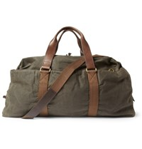 J.Crew Abingdon Waxed Cotton Canvas And Leather Holdall Bag Brown