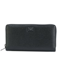 Dolce And Gabbana Zip Around Continental Wallet Men Leather One Size Black