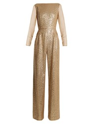 Azzaro Anja Sequin Embellished Jumpsuit Gold