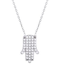 Lord And Taylor Cubic Zirconia Hamsa Necklace Silver