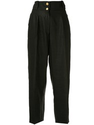 Chanel Vintage Cropped Loose Trousers Black