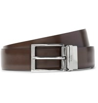 Tod's 3Cm Brown And Blue Reversible Leather Belt Dark Brown