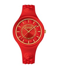 Versus By Versace Fire Island Stainless Steel Silicone Strap Watch Soq100016 Red