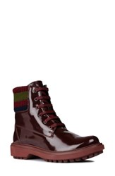 Geox Asheely Bootie Burgundy Blue Faux Leather