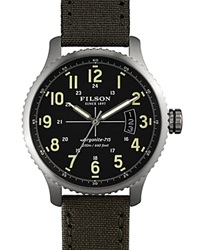 Filson The Mackinaw Field Tincloth And Leather Strap Watch 43Mm Green
