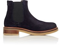 Barneys New York Women's Crepe Sole Suede Chelsea Boots Navy