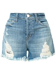 J Brand Distressed Shorts Women Cotton Polyester 24 Blue