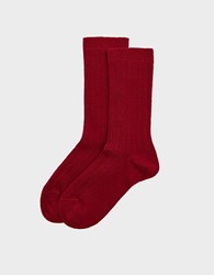 Hansel From Basel Italia Cozy Crew Socks In Tomato Wool Red