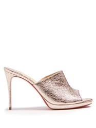 Christian Louboutin Pigamule Crinkled Effect Leather Mules Rose Gold