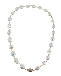 Bavna Long Baroque Freshwater Pearl And Diamond Necklace
